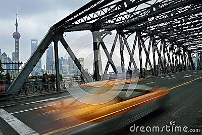 Waibaidu Bridge and Shanghai Skyline Editorial Photography