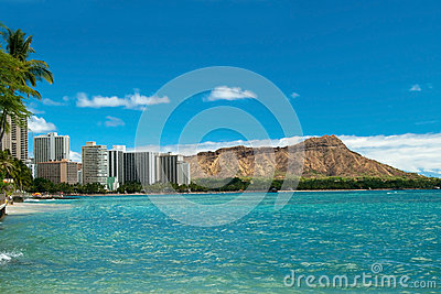 Waikiki beach with azure water in Hawaii with Diamond Head