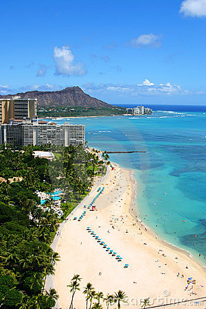 Waikiki Beach And Diamond Head In Hawaii Stock Photos - Image: 15934713