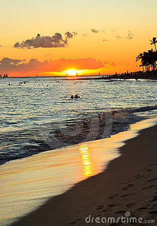 Waikiki Beach Sunset, Oahu Hawaii