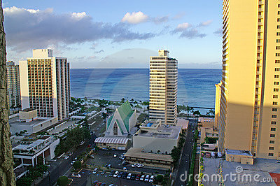 Waikiki resorts and sea