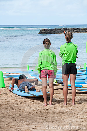 Waikiki surf lessons Editorial Image