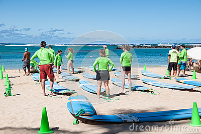 Waikiki surf lessons Editorial Photography