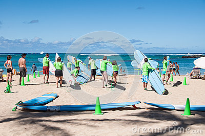 Waikiki surf lessons Editorial Stock Image