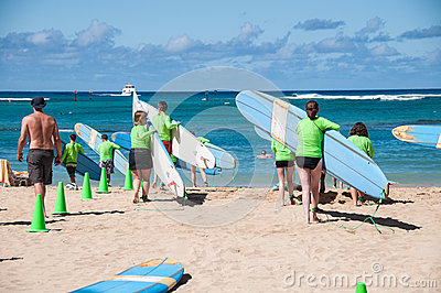 Waikiki surf lessons Editorial Stock Photo