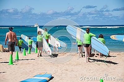 Waikiki surf lessons Editorial Stock Photo