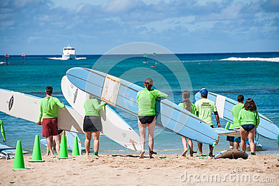 Waikiki surf lessons Editorial Photo