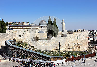 Wailing wall and the bridge leading to the Temple Editorial Photo