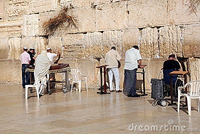 At the Wailing Wall in Jerusalem Editorial Stock Image