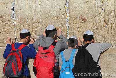 At the Wailing wall in Jerusalem Editorial Stock Photo