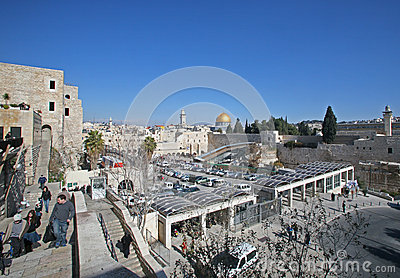 The wailing western wall in Jerusalem Editorial Photo