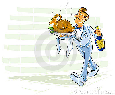 Waiter bearing a dish with bird and drink