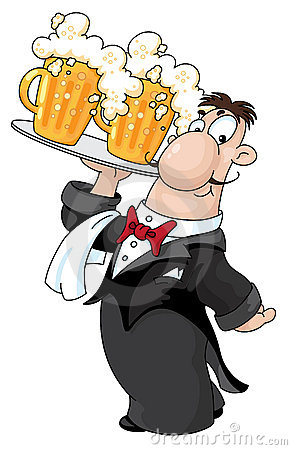 Waiter with beer
