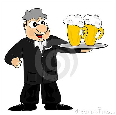 Waiter and beer
