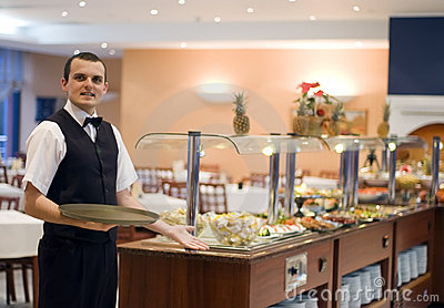 Waiter and buffet