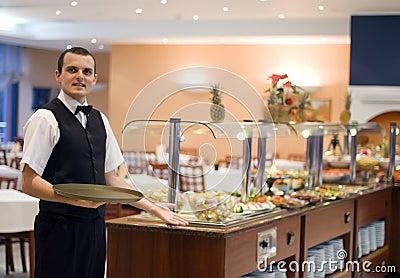 Waiter and buffet