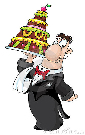 Waiter With Cake Stock Photos - Image: 17179633