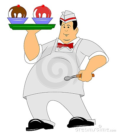 Waiter carrying sundaes