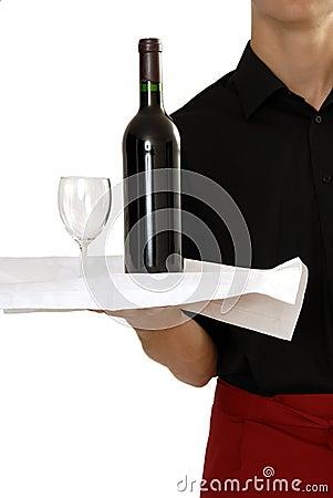 Waiter carrying wine