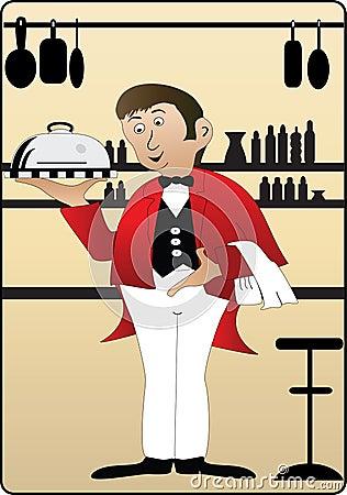 Waiter on cream background