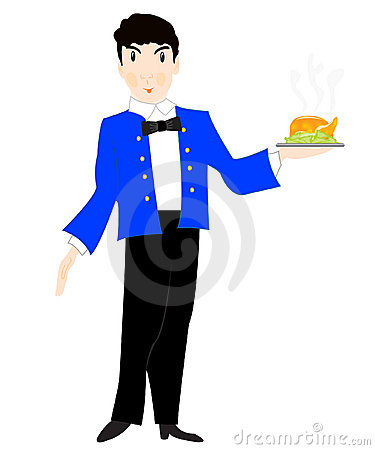 Waiter with dish