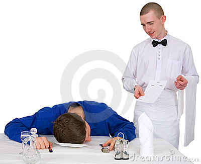 Waiter and drunk guest of restaurant