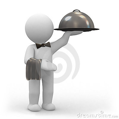Waiter with food platter