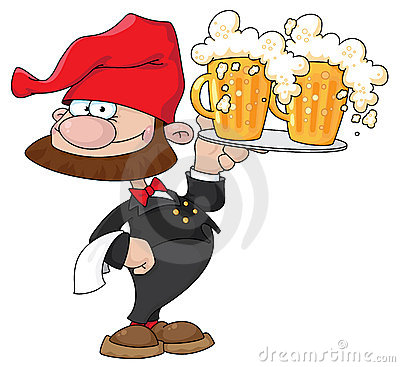 Waiter gnome with beer