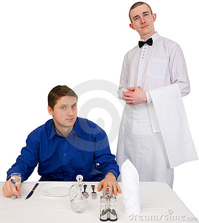 Waiter and guest of restaurant