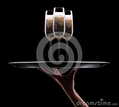 Waiter hand with champagne