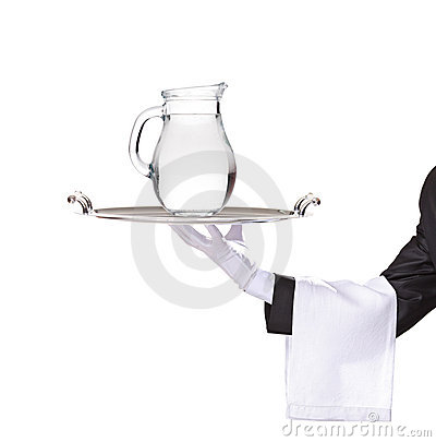 Free Waiter Holding A Silver Tray With A Pitcher Royalty Free Stock Photo - 11806595