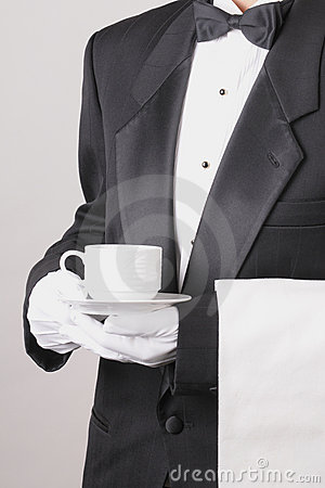 Waiter Holding Coffee Cup and Towel