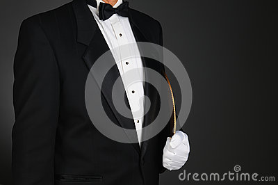 Waiter Holding Serving Tray Under His Arm