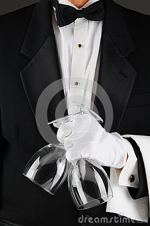 Free Waiter Holding Wine Glasses Royalty Free Stock Images - 27582849