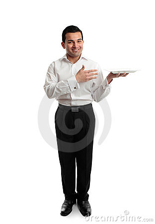 Waiter or servant holding a white plate
