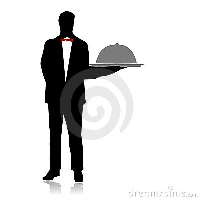Waiter serving on restaurant