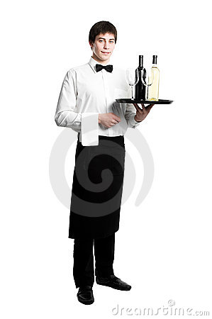 Free Waiter Sommelier With Bottles Stock Images - 19050304