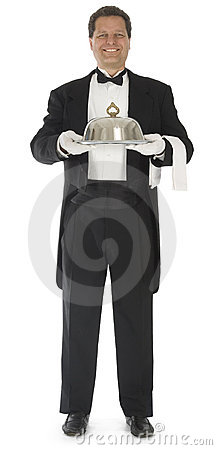 Free Waiter Standing On White Stock Photography - 3753422
