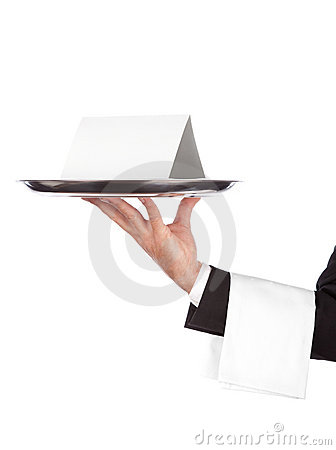 Free Waiter With Tray And Empty Card Stock Images - 11253584