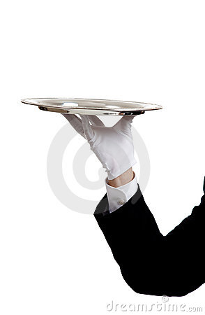 Free Waiters Arm Holding A Serving Tray Royalty Free Stock Image - 10779526