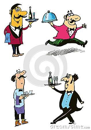 Waiters. vector set