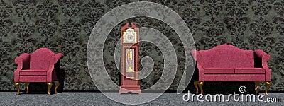 Waiting around the clock - 3D render
