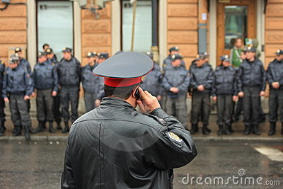 Waiting for a command, Russian police Editorial Stock Photo
