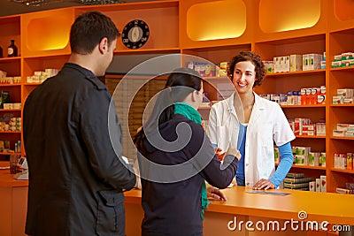 Waiting in line in pharmacy