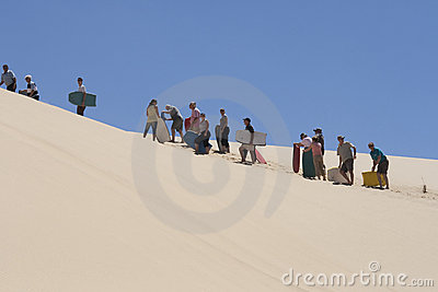 Waiting in line for sandboarding Editorial Stock Photo