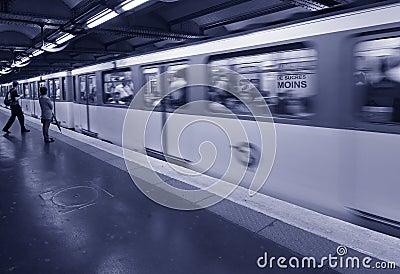 Waiting Metro Paris Editorial Photography