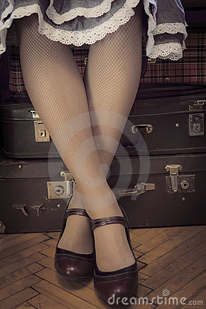 Free Waiting On Suitcases, Retro Royalty Free Stock Photo - 21074405