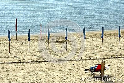 Waiting the summer - closed beach umbrellas