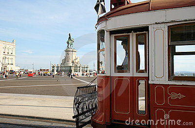 Waiting tram at Palace Square in Lisbon, Portugal Editorial Stock Image