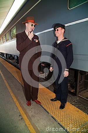 Waiting for the Troop Train Editorial Stock Image